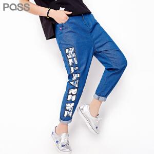 PASS原创潮牌夏装新款 纯棉字母印花薄款休闲铅笔裤牛仔裤女6621815025