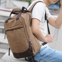 天天学院风双肩包男韩版潮流帆布背包学生书包电脑包休闲旅行 咖啡色
