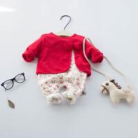 婴儿连体衣服女宝宝新生儿冬季0岁3个月秋季满月春秋装长袖外出服