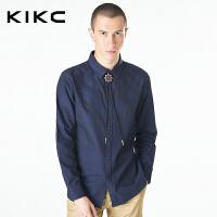 kikc男装长袖衬衫2017秋季新款青少年韩版纯色纯棉休闲时尚衬衣男
