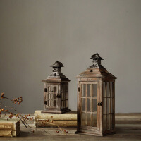 创意复古木质风灯烛台摆件家居装饰品客厅餐桌落地摆设