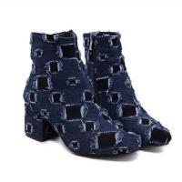 2018新款韩版高跟粗跟靴子短靴女英伦 牛仔布秋冬马丁靴 做旧女鞋真皮 蓝色