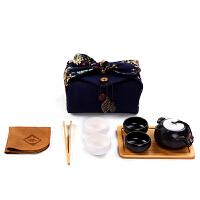 定窑陶瓷茶壶快客杯一壶四杯户外旅游功夫茶具便携包旅行茶杯套装