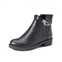 如熙2017冬季新款短靴马丁靴中跟切尔西粗跟圆头短筒女靴