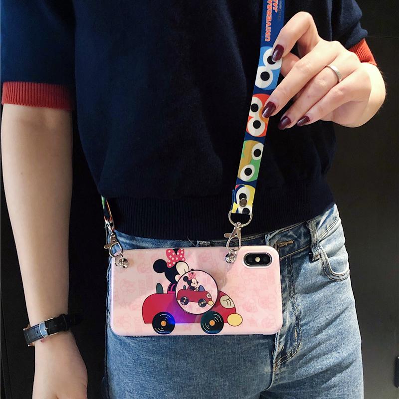 卡通可爱iphone xs max保护套苹果8plus女款可以背的手机壳创意支架7p/6s背带挂脖绳 苹果7/8 粉色(送支架+斜挎长绳)