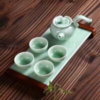 陶瓷制茶盘茶壶茶道茶台干泡台 茶艺茶杯茶海青瓷功夫茶具整套装 6件