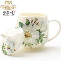 骨瓷马克杯创意带盖勺杯子陶瓷情侣水杯牛奶杯可爱韩版简约咖啡杯