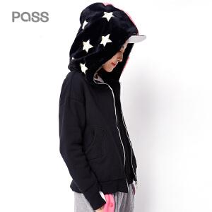 PASS新款秋冬装外套女学生潮长袖短外套女百搭薄 连帽拼接
