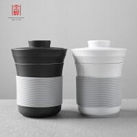 个人情侣功夫泡茶杯主人杯单杯套装 创意带盖过滤茶水分离杯子陶瓷