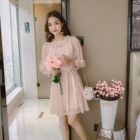 蕾丝连衣裙2018春夏装新款韩版女装七分袖显瘦气质二件套装打底裙 浅粉 M