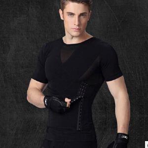 无缝升级版NY042收腹腰带款塑身短袖男士塑身衣