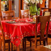 餐桌布艺 台布茶几桌旗绣花欧式田园红色长方 结婚喜庆 红色喜庆桌布盖巾