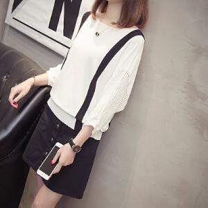 冰丝针织衫女春夏新款韩版一字领蝙蝠五分中袖宽松镂空薄打底上衣