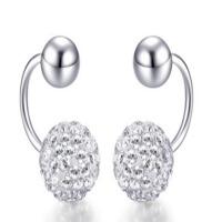 日韩版水钻耳环短款无耳洞可戴耳夹耳钉银饰品送女友爱人生日礼物