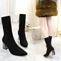 鞋子女秋季2018新款高跟袜子靴尖头中筒靴马丁靴英伦风粗跟及踝靴 黑色 单款内里