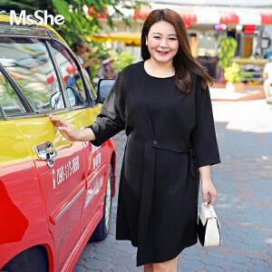 MsShe加大码女装2017新款秋装简约风微胖减龄腰带连衣裙M1710493