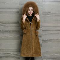 海宁时尚狐狸毛领羊剪绒皮草外套女秋冬韩版连帽长款羊毛大衣反季
