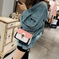 韩版新款撞色三角锁定型小方包 时尚潮流链条单肩女包