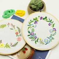欧式家居布艺手工diy刺绣材料包套件简单新手手工制作植物花环