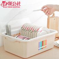 白领公社 收纳盒 塑料碗柜带盖箱餐具沥水架厨房置物架碗筷收纳盒放碗架碗碟架盘子创意厨房用品