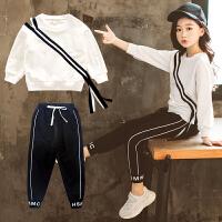 女童运动套装秋装韩版时尚中大童洋气圆领长袖两件套潮衣