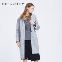 【2件2.5折到手价:81.5】MECITY女茧形外套羊羔绒长款大衣