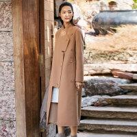 [AMII东方极简] JII AMII2017冬装新款不规则驼色大衣女100%羊毛双面呢外套长过膝
