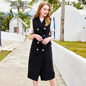 马甲女中长款 香影2018春装新款时尚修身翻领双排扣纯色无袖外套