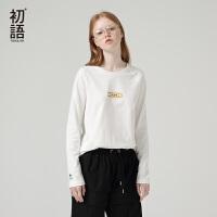 初语年春季新款大力水手IP系列宽松t恤女圆领印花纯棉上衣