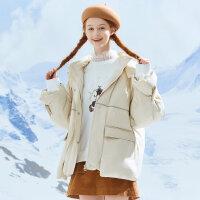 【1件3折到手价:421.8】美特斯邦威短款羽绒服女新款冬季连帽保暖时尚宽松工装外套女
