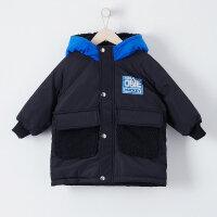 【1件4折叠券约:152.3,12日0点】moomoo童装男童棉服新款冬季装韩版洋气拼接中大儿童外套