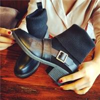 欧洲站冬季新款真皮短靴女毛线筒女靴英伦风粗跟马丁靴搭扣女鞋潮
