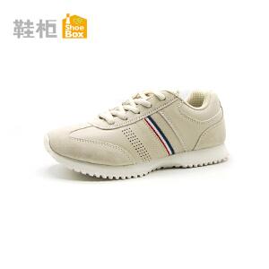 达芙妮集团 鞋柜舒适圆头系带绒面运动女单鞋