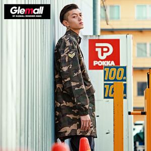 森马潮牌GLEMALL 外套夹克 立领工装迷彩风中长款宽松时尚个性
