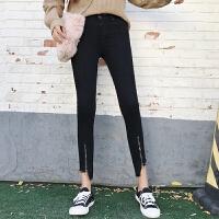 裤子女学生春季chic韩版高腰紧身毛边拉链修身牛仔裤九分小脚裤潮