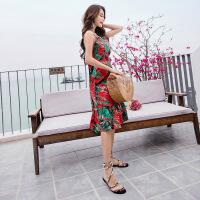 沙滩裙海边度假女夏2018新款长款连衣裙 图片色