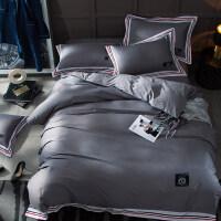 轻奢运动风贡缎全棉四件套纯棉1.5/1.8m床品4套件床上用品