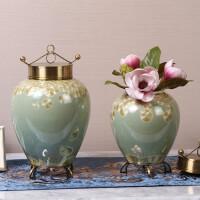 新中式欧式家居饰品样板间玄关客厅电视柜陶瓷创意储物罐摆件花瓶