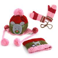 儿童帽子男童女童宝宝帽子秋冬款护耳帽2-4-8岁围巾冬天 (帽子+围巾+手套)