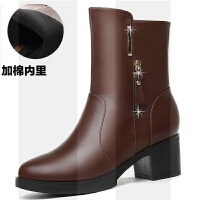 加绒粗跟短靴女2018冬季新款中跟保暖女皮靴雪地中筒靴高跟马丁靴SN4724 34 单层
