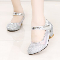 女童皮鞋春秋2018新款儿童公主鞋水钻水晶鞋小高跟韩版单鞋