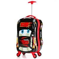 汽车儿童拉杆箱包小学生行李箱旅行箱18寸男童拖箱小孩皮箱可坐骑 黑色 万向轮18寸加粗