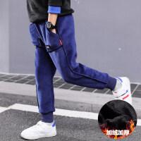 男童秋冬装裤子2018新款儿童装加绒加厚长裤中童金丝绒束脚运动裤