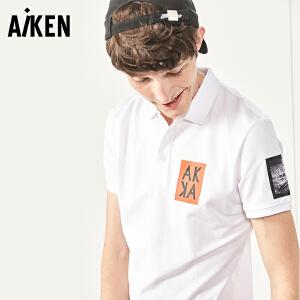 森马旗下Aiken短袖T恤男士夏装新款潮牌字母翻领polo衫半袖体恤上衣男