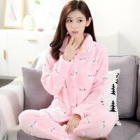 珊瑚绒睡衣套装女款情侣家居服加厚可爱韩版长袖保暖睡衣女