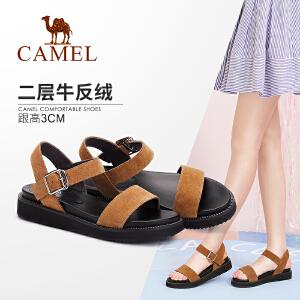 Camel/骆驼女鞋 2018夏季新款 休闲舒适厚底凉鞋韩版简约松糕鞋女平底鞋