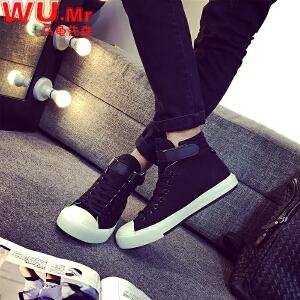乌龟先森 帆布鞋 男士春季布鞋男式韩版休闲鞋学生潮流高帮板鞋系带帆布鞋子