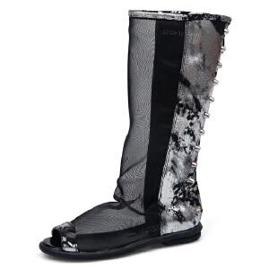 比比我2017春秋新款女鞋真皮平底中筒靴子秋舒适网纱网靴鱼嘴靴女童靴