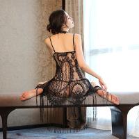 吊带睡裙女夏蕾丝流苏中裙极度诱惑火辣性感情趣内衣骚透明睡衣