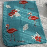 纯棉纱布毛巾被8层纱 加厚 全棉透气单人盖毯空调毯子 浅蓝色1条 a面浅蓝+b面红